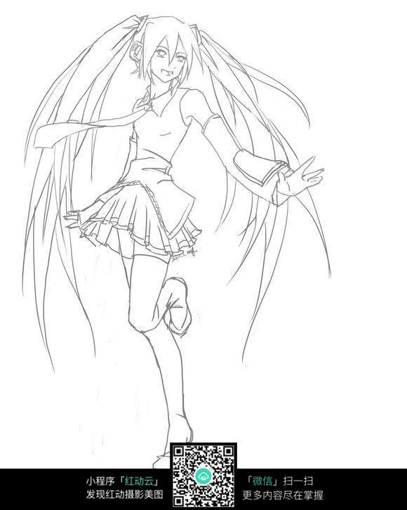 跳舞的女孩卡通手绘线稿