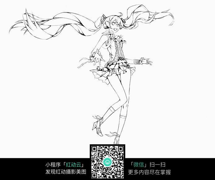 跳舞的女孩卡通手绘线稿图片
