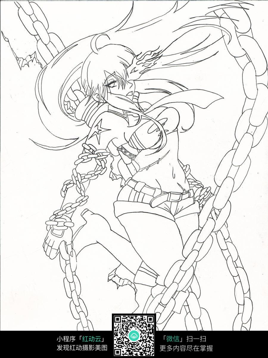 铁链和少女卡通手绘线稿图片免费下载 编号3746518 红动网图片