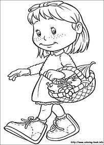 提着菜篮子走路的女孩图片