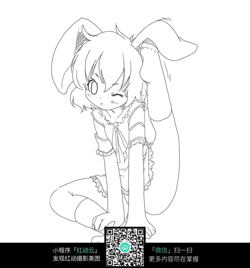 兔耳机卡通女孩