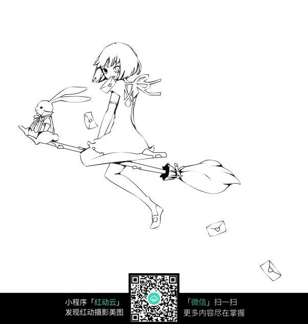 兔子和女孩卡通手绘线稿图片