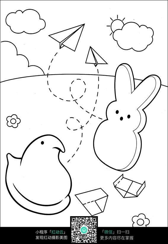 兔子和纸飞机卡通手绘线稿图片