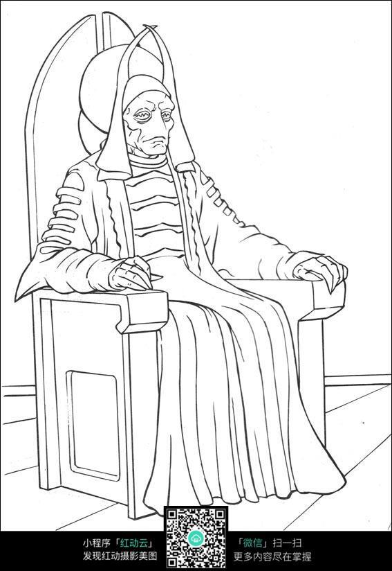 外星人坐在椅子上