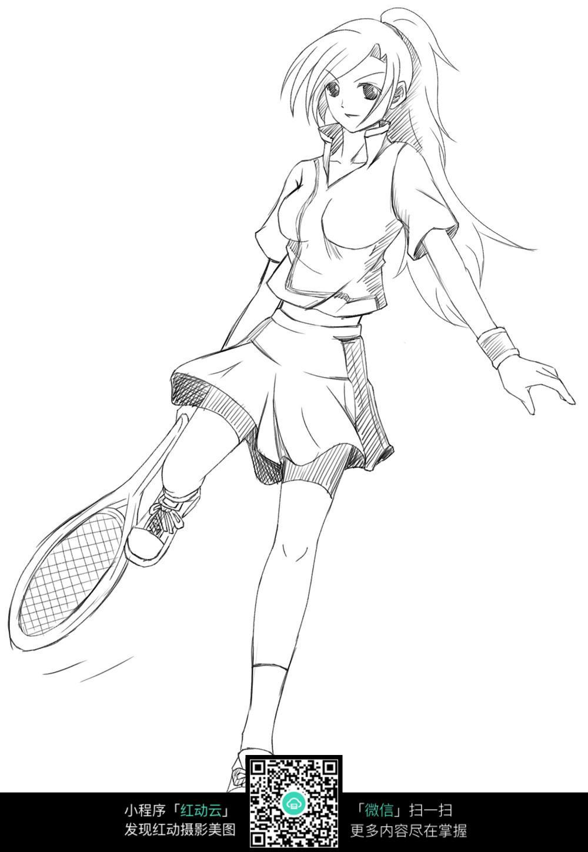 网球少女卡通手绘线稿