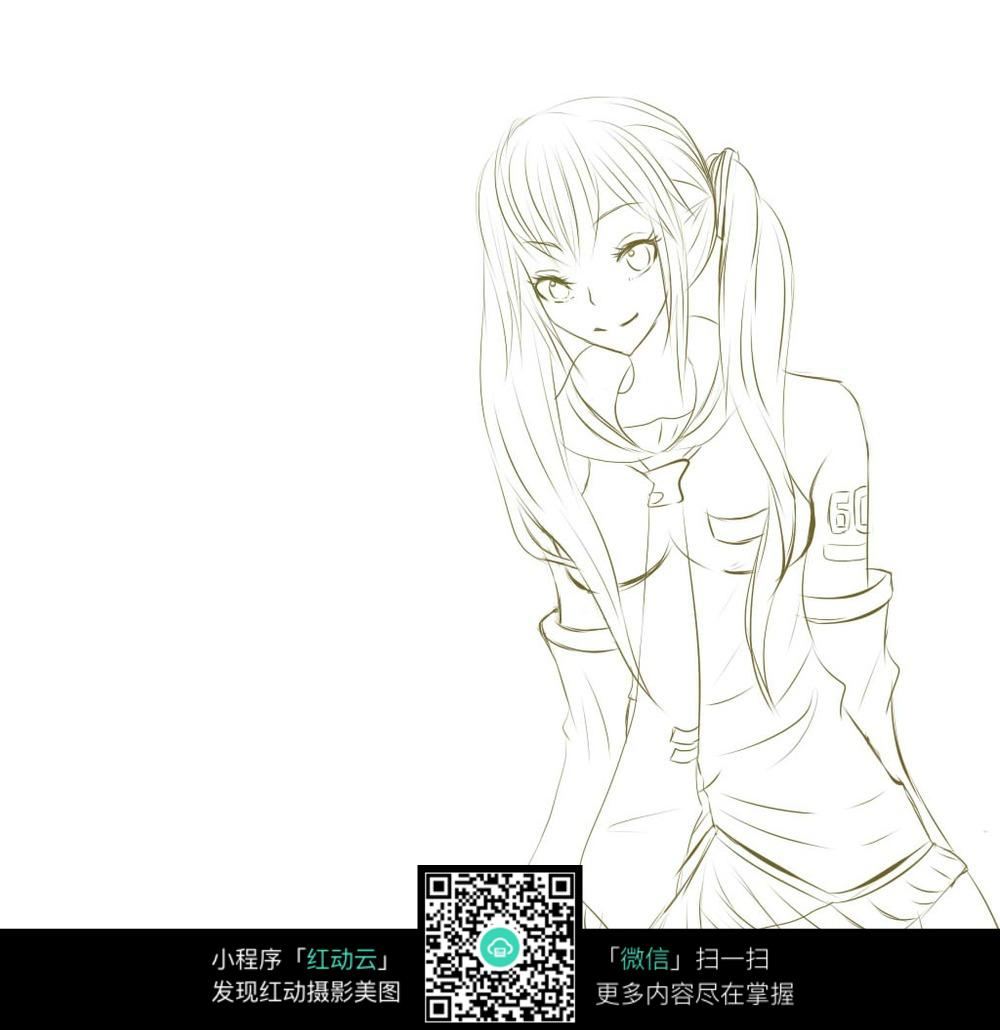 微笑的美女卡通手绘线稿