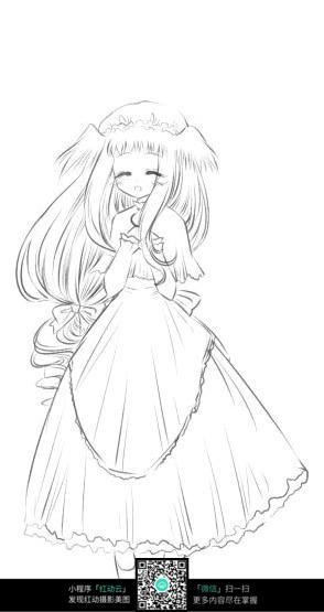 微笑的女孩卡通手绘线稿