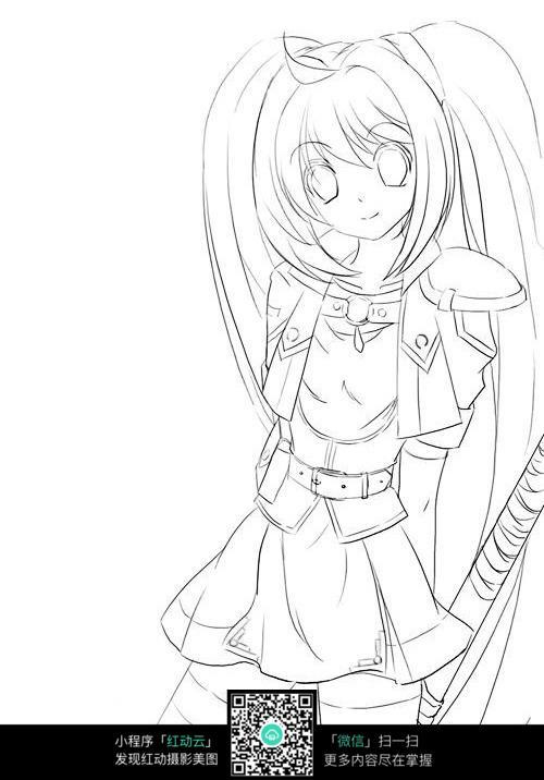 微笑的女孩卡通手绘线稿_人物卡通图片