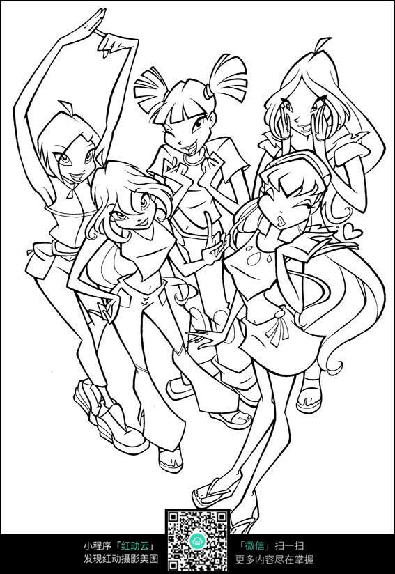 舞蹈团队卡通女孩