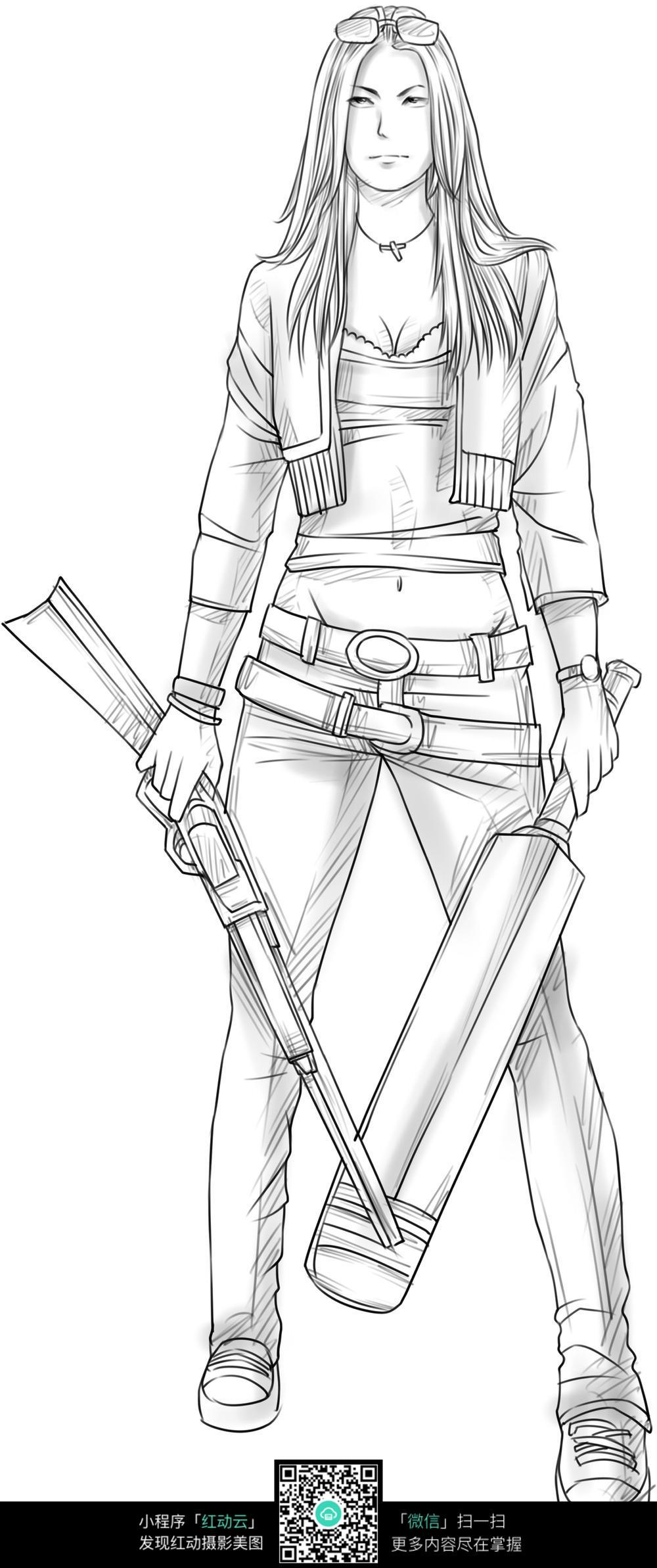 武器 女孩 卡通 手绘线稿 卡通人物 漫画  卡通素材  插画 人物素材