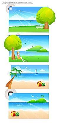 沙滩大海帆船手绘背景画矢量图_底纹背景