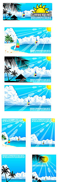夏季沙滩海景椰树手绘背景画