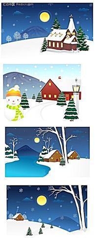 乡村雪景手绘背景画