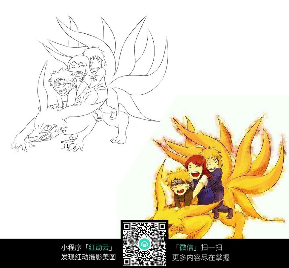 免费素材 图片素材 漫画插画 人物卡通 小孩和九尾狐卡通手绘线稿  请