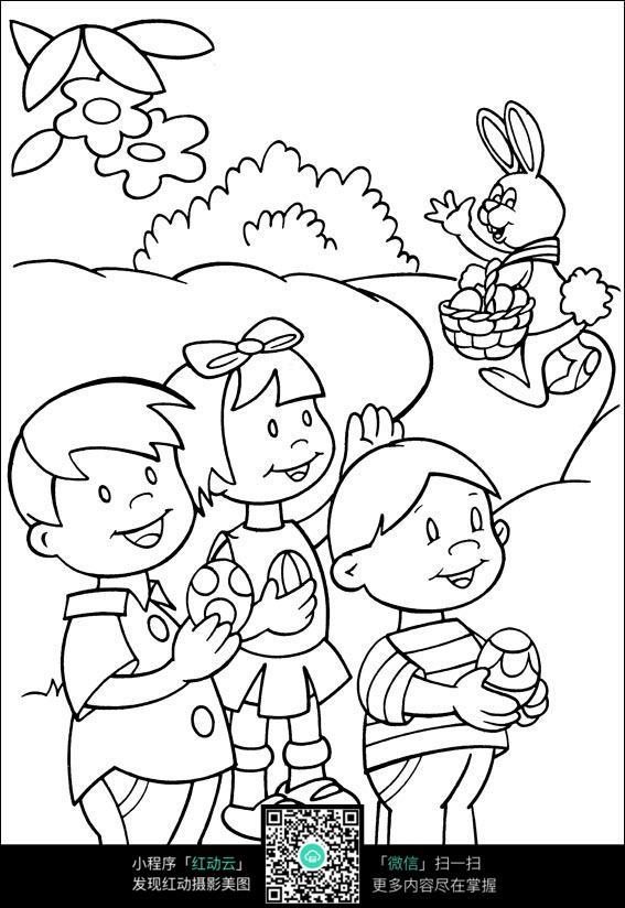 小孩和兔子卡通手绘线稿
