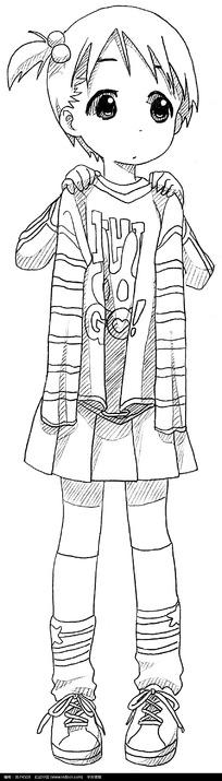 古代小孩玩耍手绘插画图片