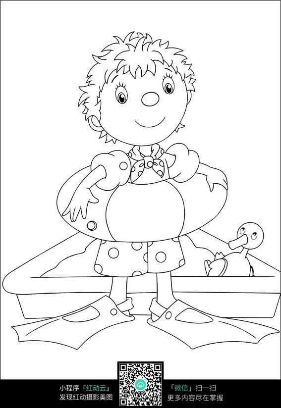小男孩抱着游泳圈的漫画手稿
