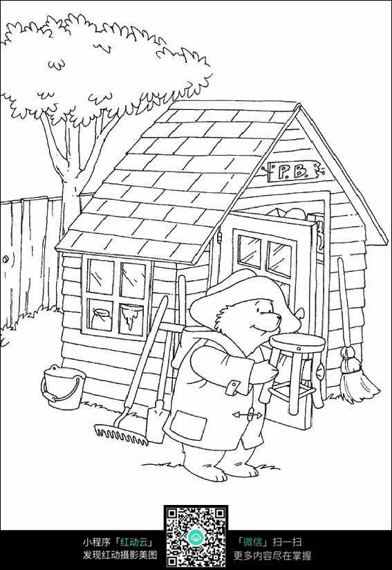 小熊修理凳子_人物卡通图片