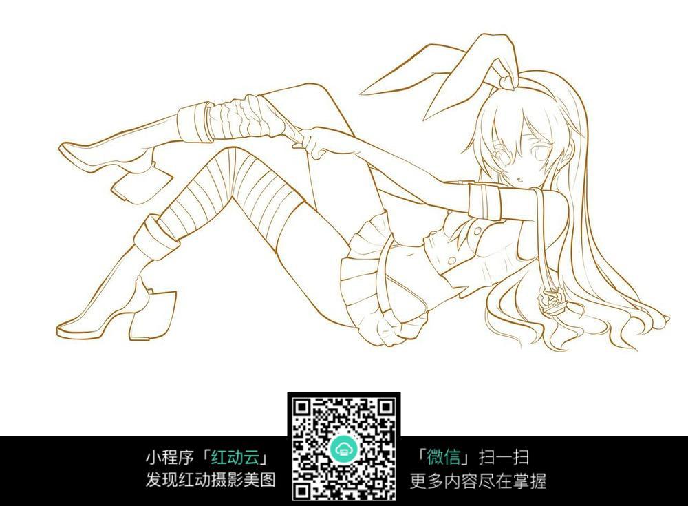 免费素材 图片素材 漫画插画 人物卡通 性感兔女郎造型
