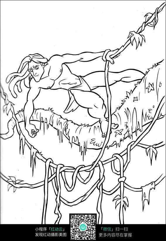 沿着大树藤蔓奔跑的原始人