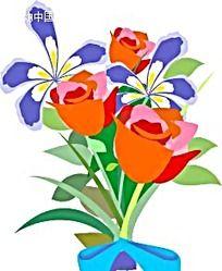 一束玫瑰花手绘画