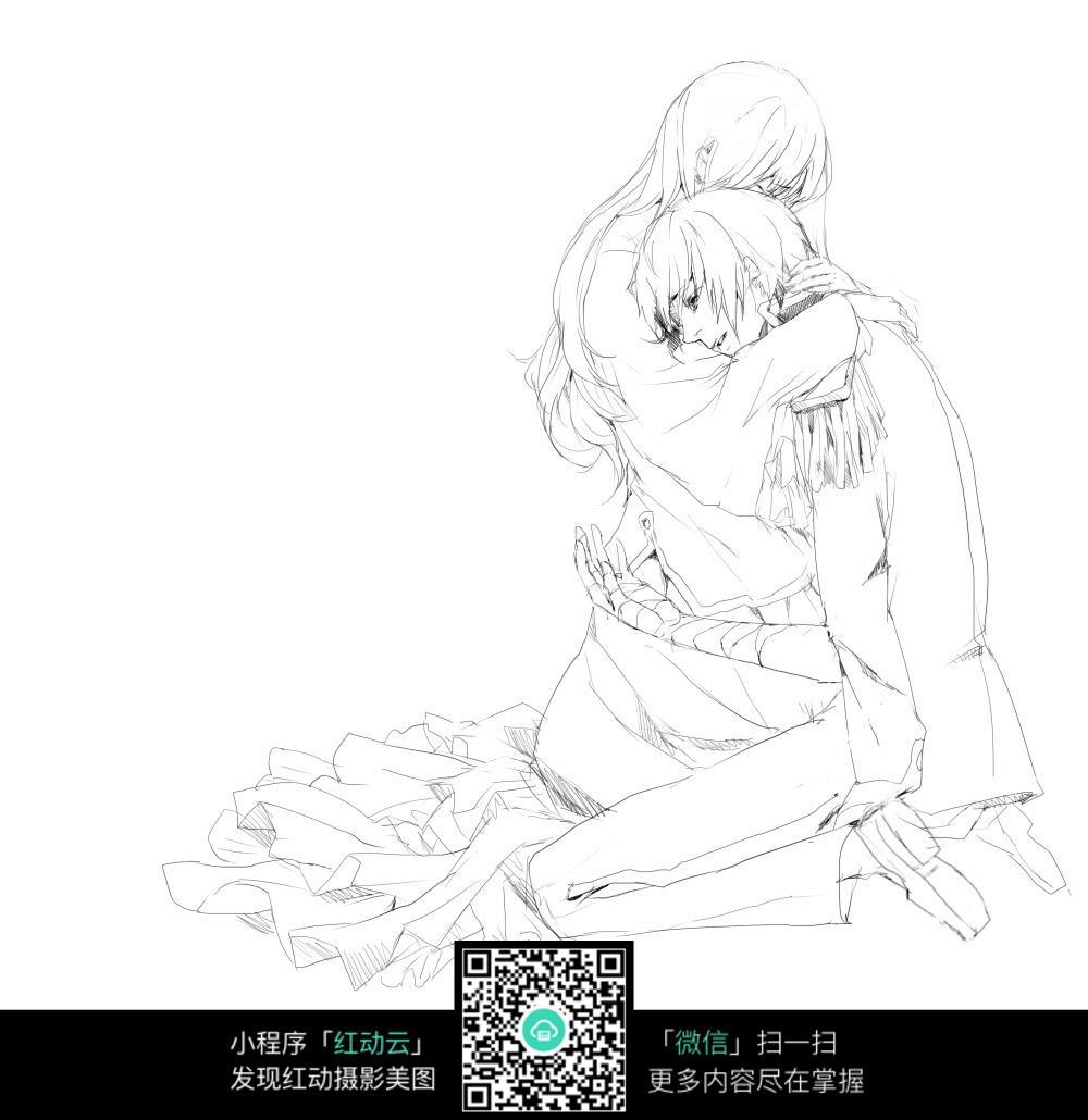拥抱的情侣卡通手绘线稿_人物卡通图片