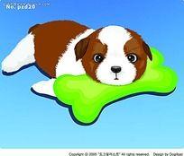 用骨头枕头的小狗手绘画