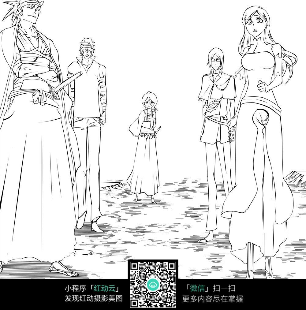 游戏中的动漫人物线描图片