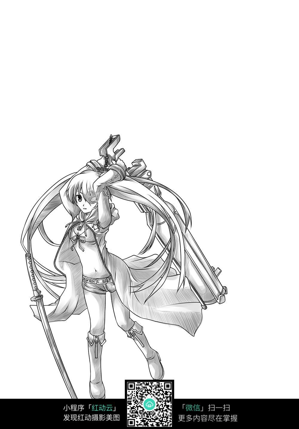 免费素材 图片素材 漫画插画 人物卡通 游戏中的美少女战士