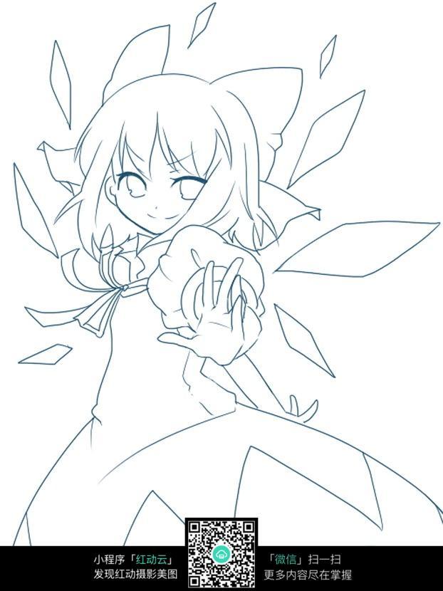 战斗美少女线描图片_人物卡通图片