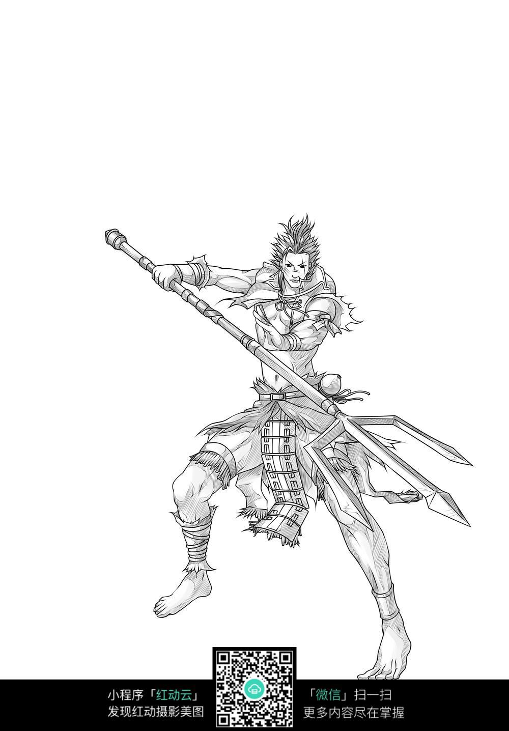 战士和武器卡通手绘线稿图片