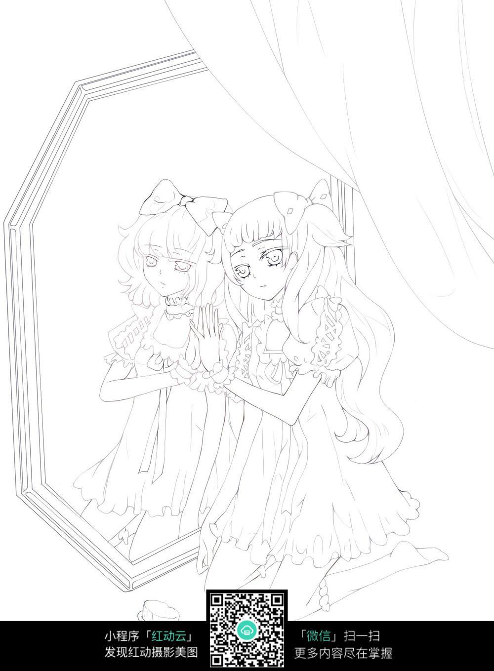 照镜子的女孩卡通手绘线稿