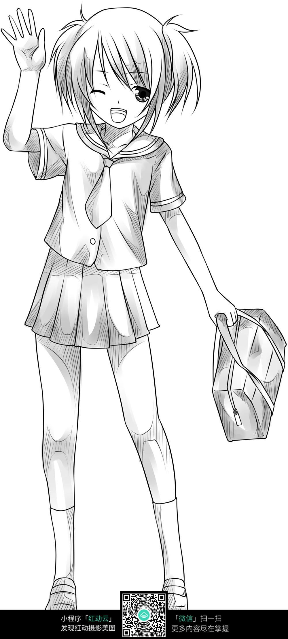 招手的女孩卡通手绘线稿_人物卡通图片