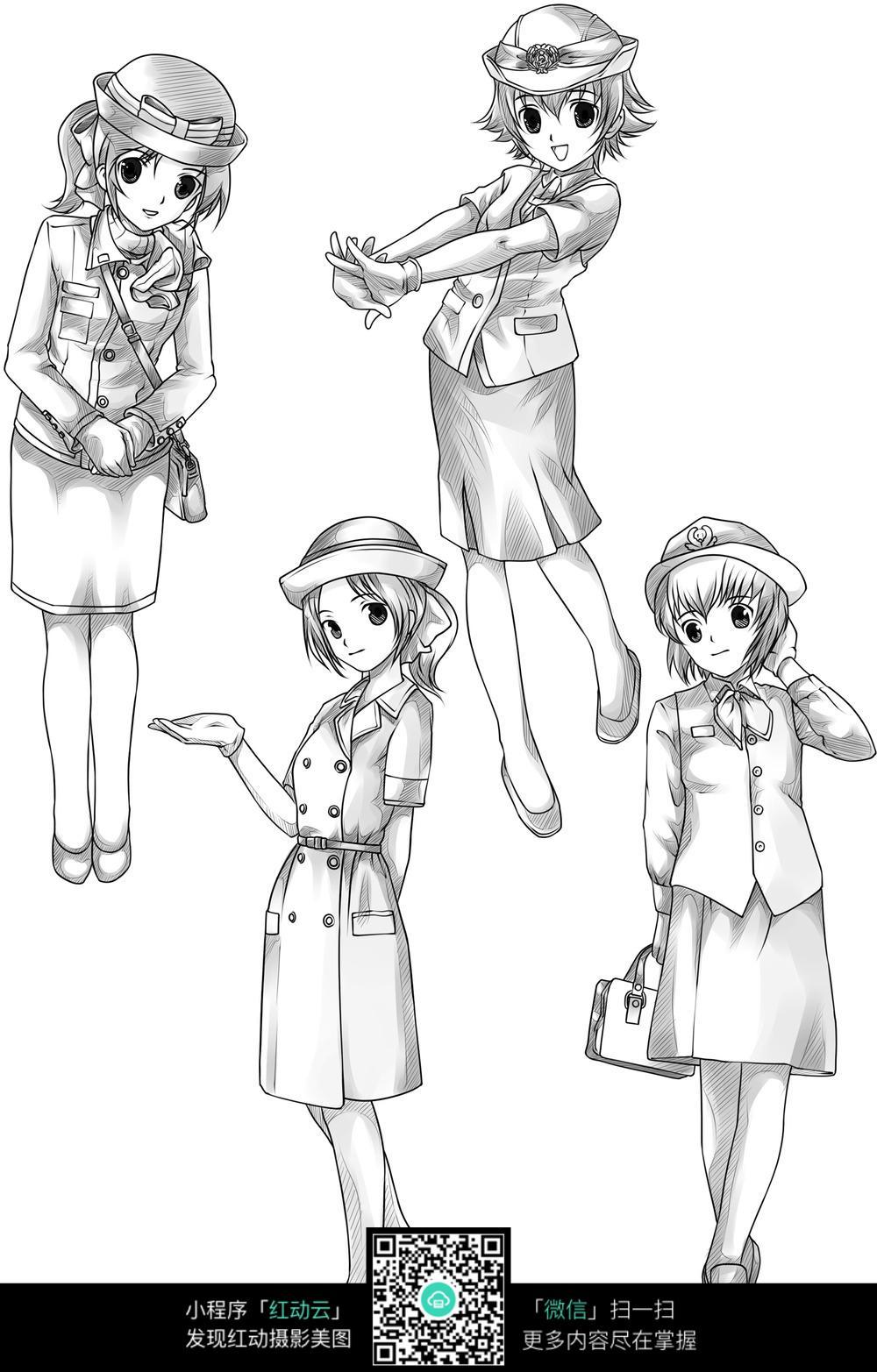 职业女子卡通手绘线稿