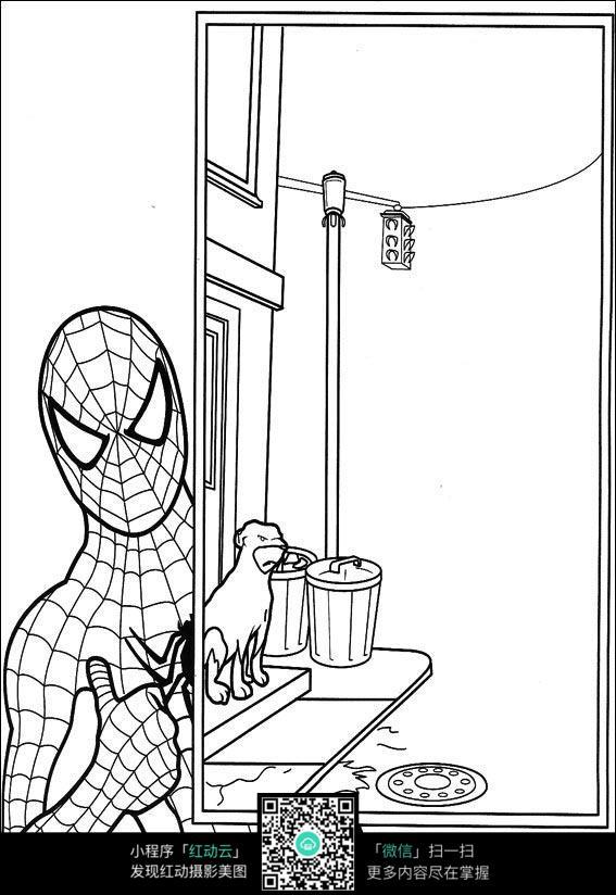 蜘蛛侠潜入洗手间的漫画手稿