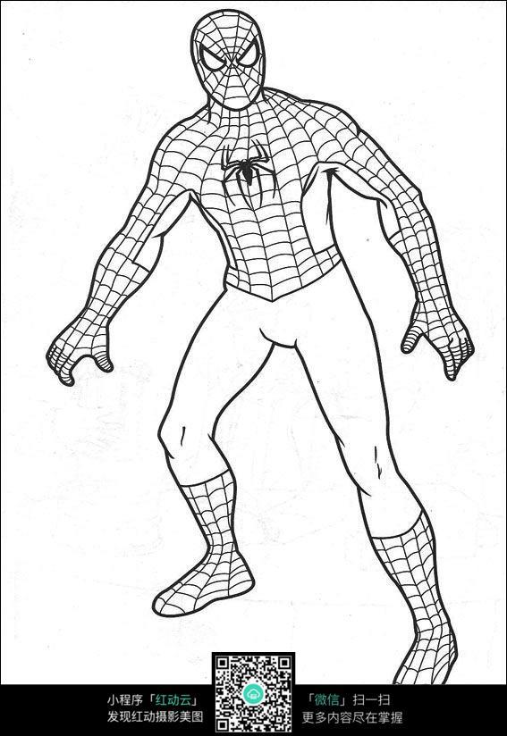 日本动漫素材  写生 线描 线稿 黑白线稿 蜘蛛侠造型线描 卡通人物