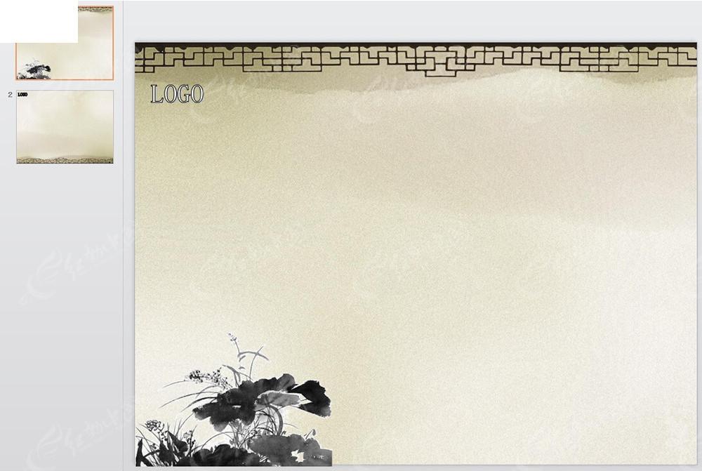 中国风水墨窗格ppt模板图片