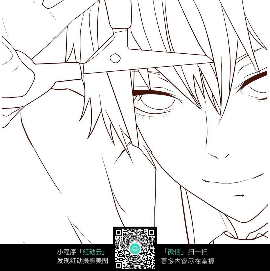 免费素材 图片素材 漫画插画 人物卡通 自己剪刘海的男生