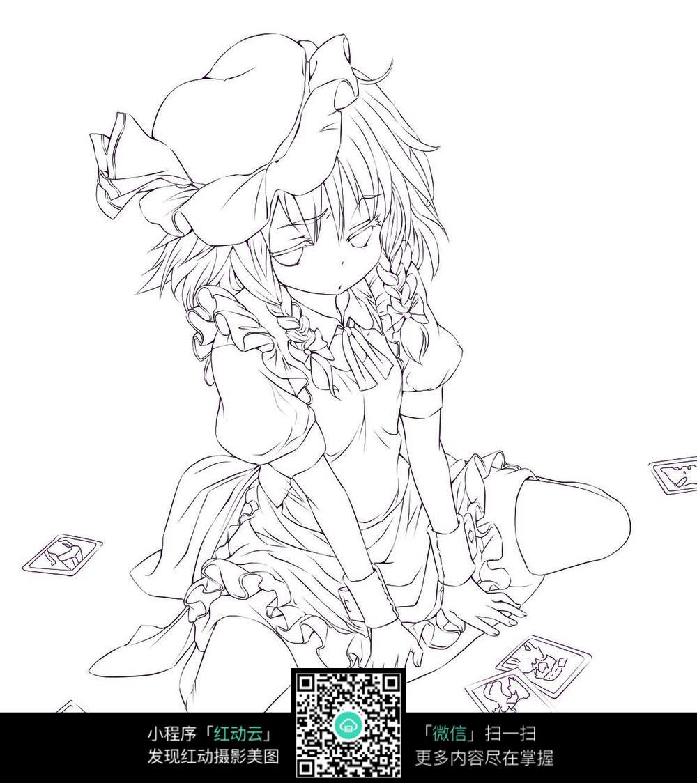 椅子上的女孩卡通手绘线稿_人物卡通图片_红动手机版