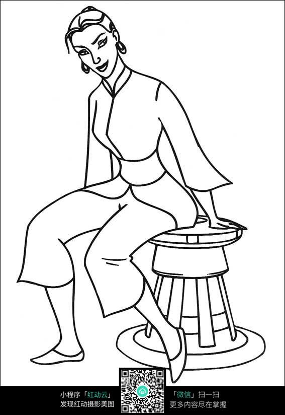 人坐在椅子上的手绘图