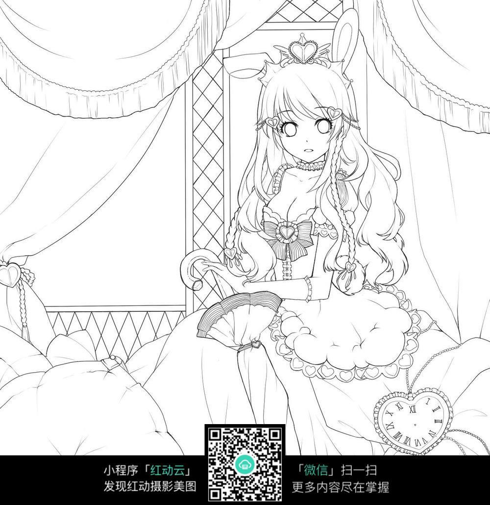 坐在公主床上的卡通美女
