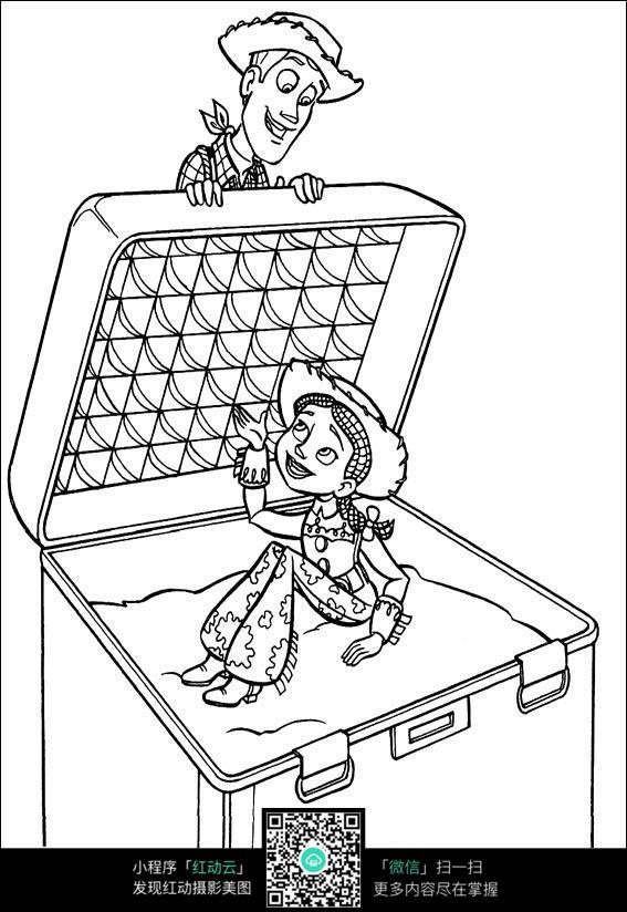 坐在盒子里的女孩_人物卡通图片