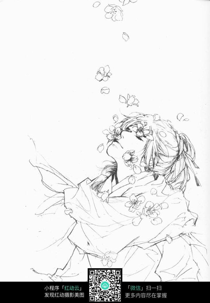 坐在樱花树下的男孩 卡通人物