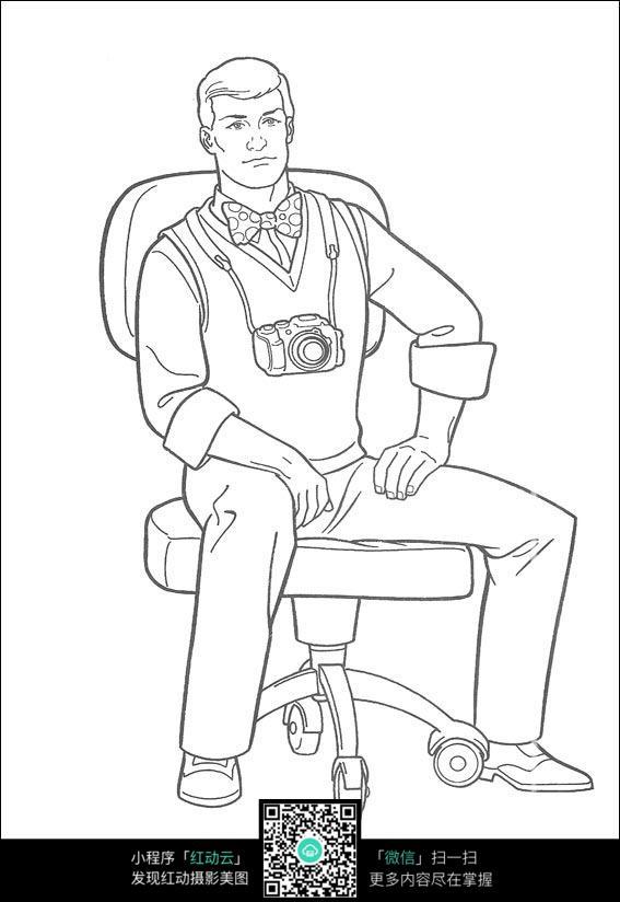 免费素材 图片素材 漫画插画 人物卡通 坐在椅子上戴着相机的男人