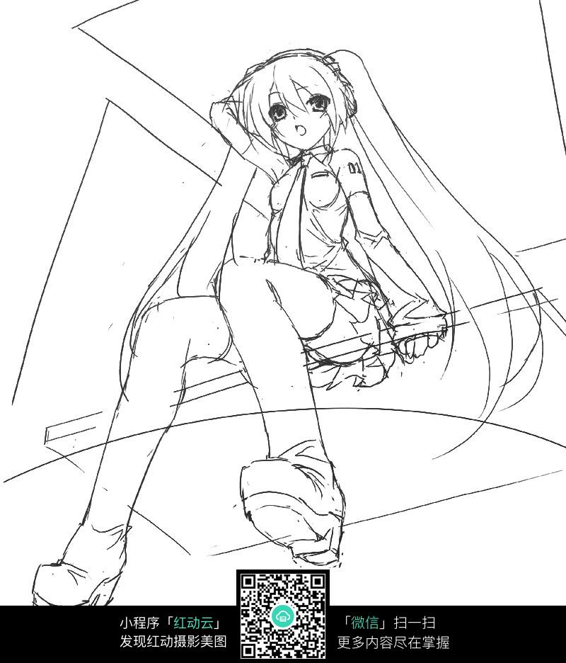 坐着的女孩卡通手绘线稿