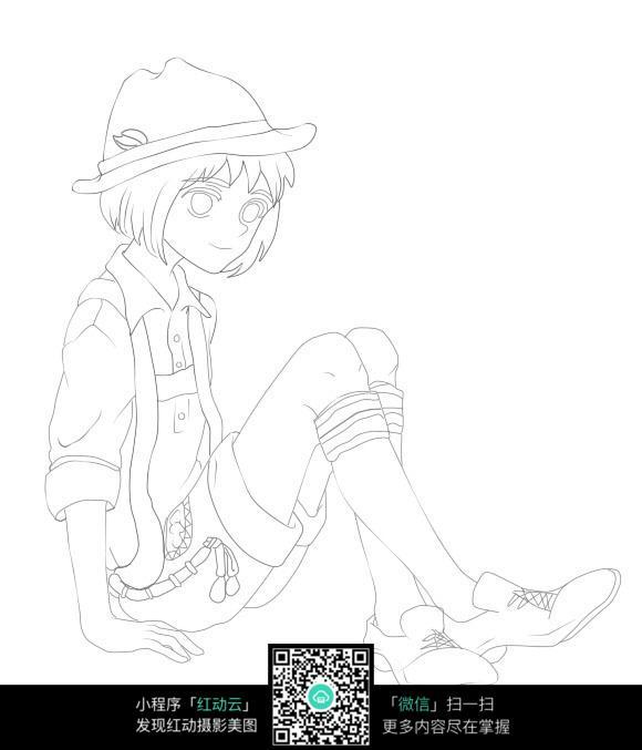 坐着的女孩卡通手绘线稿图片免费下载 编号3675282 红动网