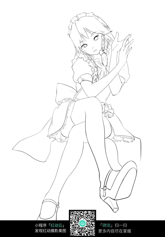 坐着的 少女 卡通 手绘线稿 卡通人物 漫画  卡通素材  插画 人物素材