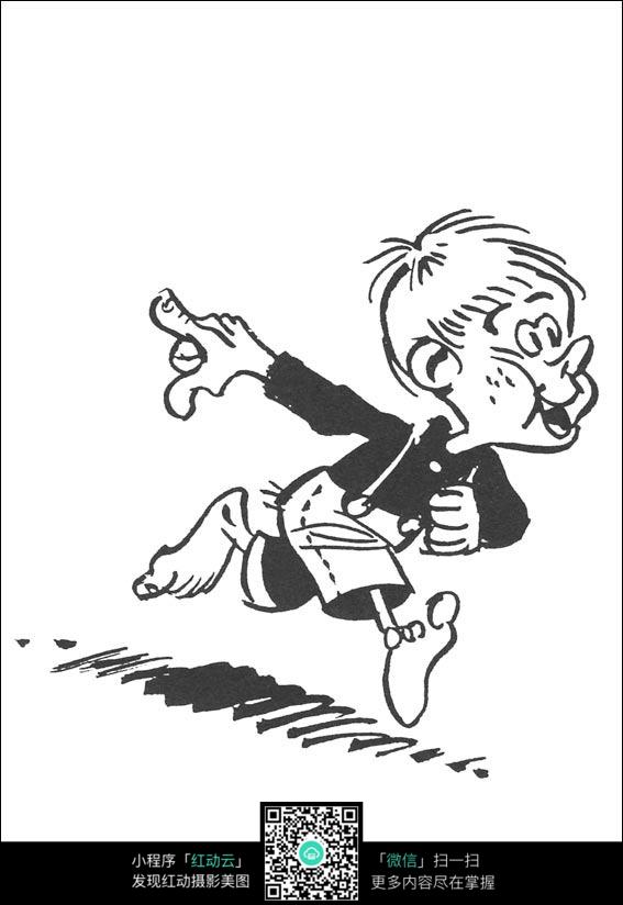 奔跑的男孩卡通手绘线稿图片