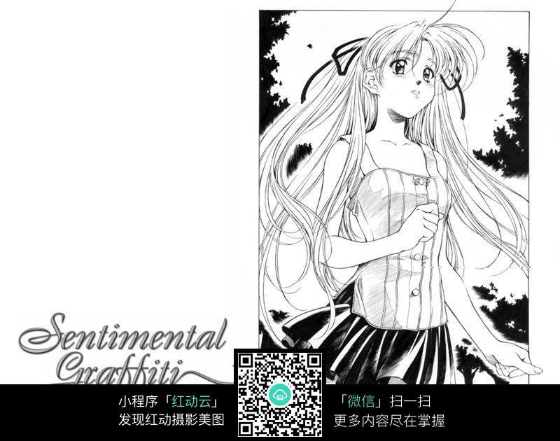 长发美女卡通手绘线稿_人物卡通图片_编号3669102_红