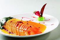 橙汁泡木瓜菜品照片